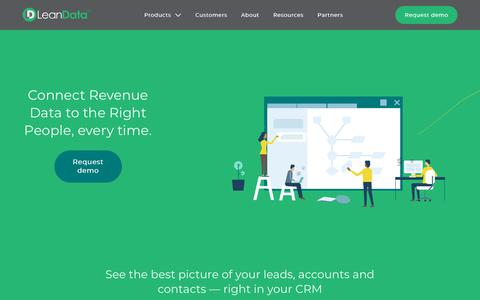 Screenshot of Home Page leandatainc.com - LeanData   Get the right revenue data to the right people, every time. - captured July 17, 2018
