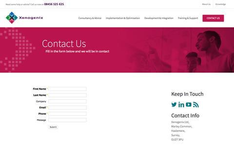 Screenshot of Contact Page xenogenix.co.uk - Contact-Us ~ Experienced UK Salesforce Consulting Partner - captured Dec. 8, 2016