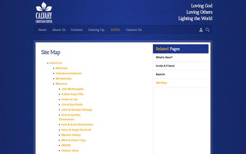 Screenshot of Site Map Page calvarychristiancenter.net - Calvary Christian Center | Site Map - captured Oct. 1, 2014