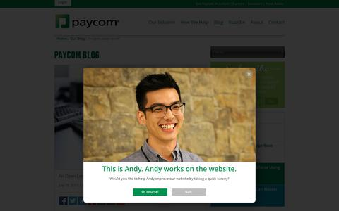 Screenshot of Blog paycom.com - Paycom Blog   An Open Letter to HR - captured Oct. 28, 2016