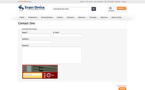 Screenshot of Contact Page startoffice.nl - Contact Ons - captured Sept. 30, 2014