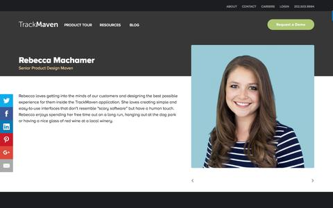 Screenshot of Team Page trackmaven.com - Rebecca Machamer – TrackMaven - captured Oct. 12, 2016