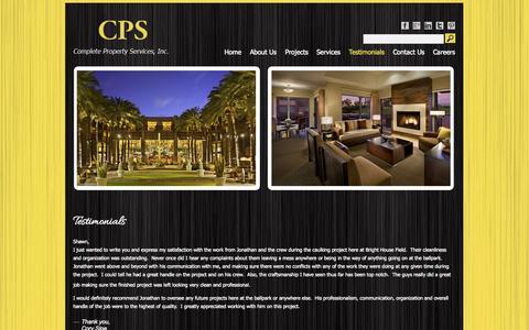 Screenshot of Testimonials Page completeproperty.com - Testimonials | CPS - captured Oct. 3, 2014