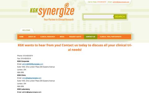 Screenshot of Contact Page kgksynergize.com - Contact Us | KGK Synergize - captured Oct. 6, 2014