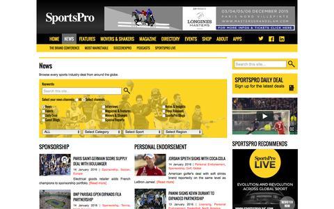 Screenshot of Press Page sportspromedia.com - SportsPro news - Global sports broadcast, sponsorship & agency deals - SportsPro Media - SportsPro Media - captured Jan. 14, 2016