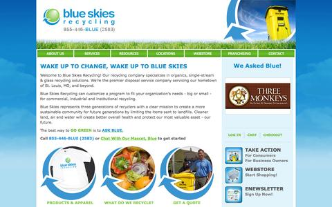 Screenshot of Home Page blueskiesrecycling.com - Recycling Company | Premier Disposal Service | Blue Skies Recycling - captured Sept. 30, 2014