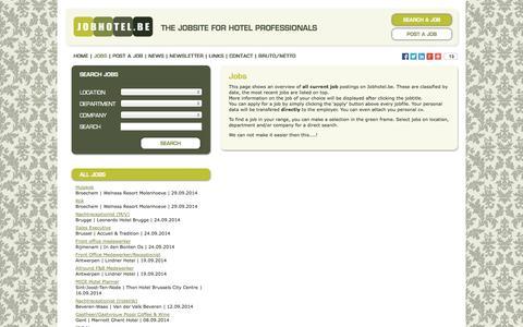 Screenshot of Jobs Page jobhotel.be - Jobhotel.be | Vacancies - captured Sept. 30, 2014