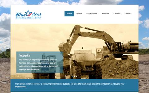 Screenshot of Home Page Menu Page bluestarconstruction.ca - Blue Star Construction Corp. | Star Service from the Group Up! - captured Oct. 5, 2014