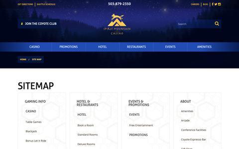 Screenshot of Site Map Page spiritmountain.com - Sitemap | Spirit Mountain Casino - captured April 10, 2019