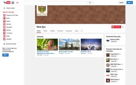 Screenshot of YouTube Page youtube.com - Reia Nyc  - YouTube - captured Nov. 5, 2014