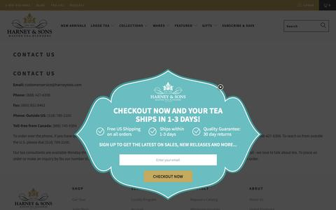 Screenshot of Contact Page harney.com - Contact US - Harney & Sons Fine Teas - captured Jan. 11, 2020