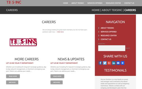 Screenshot of Jobs Page teksinc.com - Careers :: TeksInc.com - captured Sept. 20, 2018