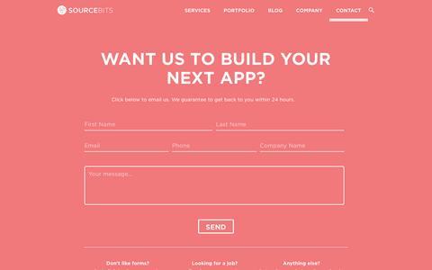 Screenshot of Contact Page sourcebits.com - Contact Sourcebits App Design & Development Company - captured July 3, 2016