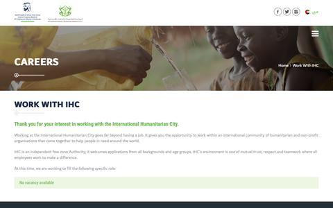 Screenshot of Jobs Page ihc.ae - Work With IHC | International Humanitarian City - captured Oct. 12, 2018