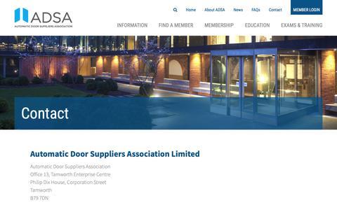 Screenshot of Contact Page adsa.org.uk - Contact | ADSA - captured Oct. 4, 2018