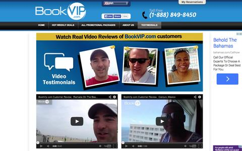 Screenshot of Testimonials Page bookvip.com - BookVIP.com - Cheapest Vacation Packages To The Most Popular Destinations - captured Sept. 19, 2014