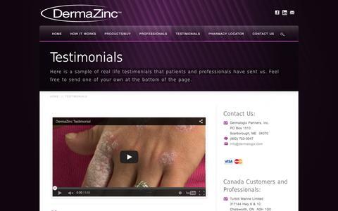 Screenshot of Testimonials Page dermalogix.com - DermaZinc™ Testimonials - Real Life Results Using DermaZinc™ - captured Feb. 9, 2016