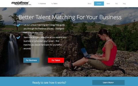 Screenshot of Home Page mystaffnow.com - MyStaffNow | Better Talent Matching For Your Business - captured Oct. 9, 2014