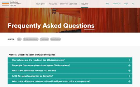 Screenshot of FAQ Page culturalq.com - Frequently Asked Questions - captured Nov. 14, 2016
