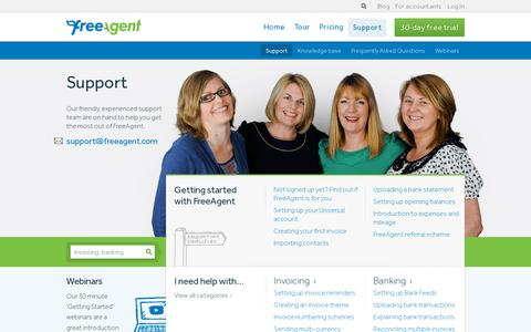 Screenshot of Support Page freeagent.com - Support - Online Accounting Software - FreeAgent - captured July 20, 2014