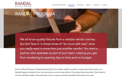Screenshot of Services Page randalretail.com - Randal Program - Randal Retail Group - captured Feb. 26, 2016