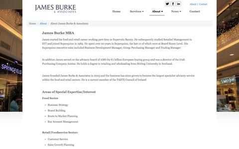 Screenshot of About Page jamesburke.ie - About | James Burke and Associates Food and Retail Consultants - captured Nov. 26, 2016