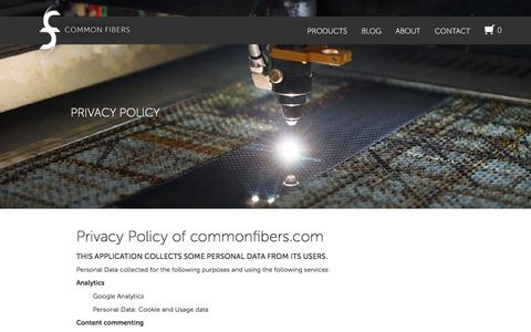 Screenshot of Privacy Page commonfibers.com - Privacy Policy | Common Fibers - captured Dec. 10, 2015