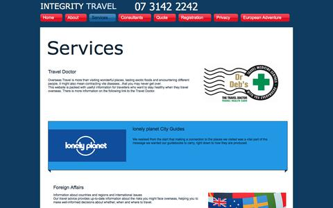 Screenshot of Services Page integritytravel.com.au - Integrity| Travel|0413 891 536| Lonley Planet| Foreign Affairs - captured June 7, 2017