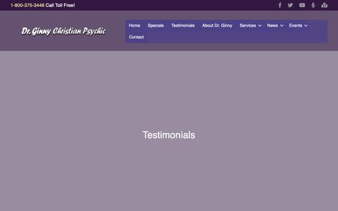 Screenshot of Testimonials Page drginny.com - Testimonials Archive - Dr. Ginny Christian Angel Readings - captured Nov. 2, 2018