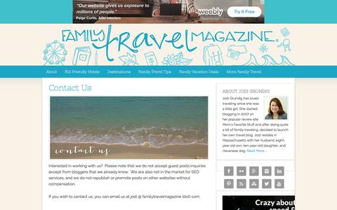 Screenshot of Contact Page familytravelmagazine.com - Contact Us - captured Jan. 19, 2016