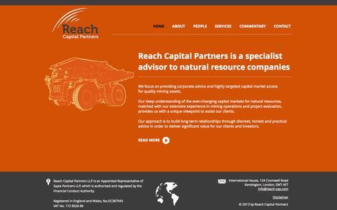 Screenshot of Home Page reach-cap.com - Reach Capital Partners - captured Oct. 6, 2014
