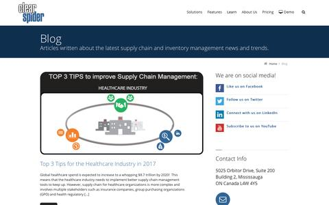Screenshot of Blog clearspider.com - Blog | Clear Spider Inventory Management Solutions - captured May 18, 2017