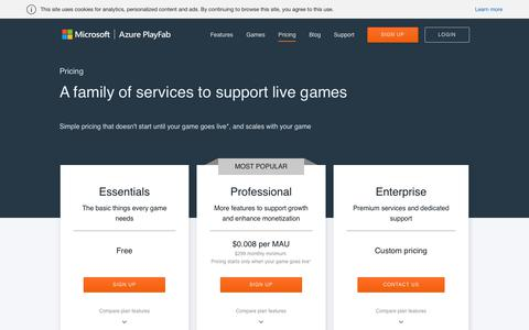 Screenshot of Pricing Page playfab.com - Pricing | Microsoft Azure PlayFab - captured March 17, 2019