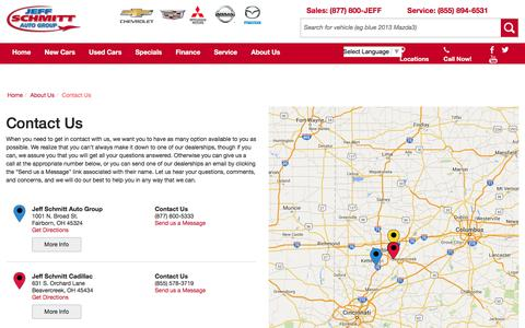 Screenshot of Contact Page Locations Page jeffdeals.com - Contact Jeff Schmitt Auto Group in Fairborn Ohio - captured Jan. 31, 2016