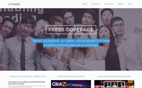 Screenshot of Press Page passkit.com - Press - PassKit - captured May 9, 2017