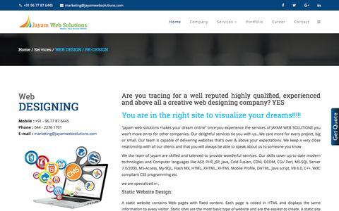Screenshot of Services Page jayamwebsolutions.com - Web Designing In Chennai | Web Design Company In Chennai - captured Jan. 11, 2017
