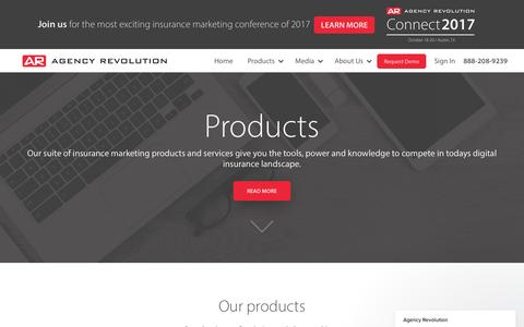Screenshot of Products Page agencyrevolution.com - Agency Revolution says… - captured May 29, 2017