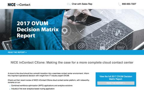 Screenshot of Landing Page niceincontact.com - NICE inContact | OVUM Decision Matrix Report 2017 - captured Jan. 30, 2018