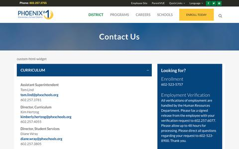 Screenshot of Contact Page phxschools.org - Phoenix Elementary School District #1 |   Contact Us - captured Jan. 16, 2018