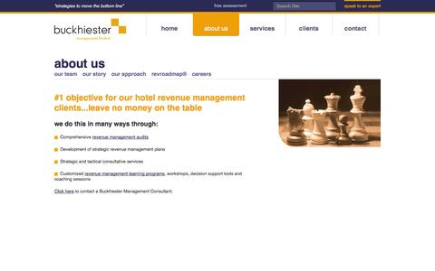 Screenshot of About Page buckhiester.com - Hotel Revenue Management Audit | Buckhiester Management - captured Oct. 5, 2014