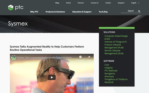 Screenshot of Case Studies Page ptc.com - Sysmex Talks Augmented Reality  | PTC - captured Nov. 13, 2018