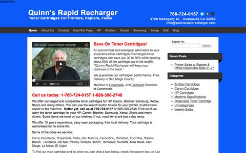 Screenshot of Home Page quinnsrapidrecharger.com - Recharged Toner Cartridges HP, Canon, Brother, Samsung, Sharp, Xerox - captured Sept. 30, 2014