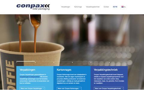 Screenshot of Home Page conpax.nl - Verpakkingen, disposables, karton en verpakkingsmachines leverancier - captured Sept. 30, 2014