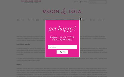 Screenshot of Privacy Page moonandlola.com - Privacy - Moon and Lola - Happy Starts Here - captured Oct. 1, 2015