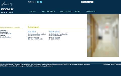 Screenshot of Contact Page Locations Page edgar-online.com - Edgar Online - captured Oct. 22, 2014