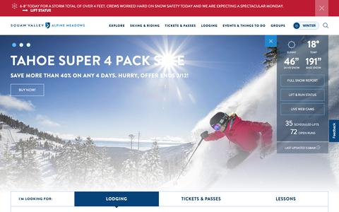 Screenshot of Home Page squawalpine.com - Squaw Valley Alpine Meadows | Best Lake Tahoe Ski Resorts - captured Feb. 11, 2019