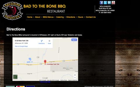 Screenshot of Maps & Directions Page bad2thebonebbq.com - Directions to Bad to the Bone BBQ | Rochester NY | Williamson NY - captured Oct. 5, 2014