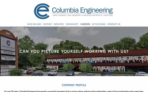 Screenshot of Jobs Page columbia-engineering.com - can you picture yourself working with us? — Columbia-Engineering and Services, Inc. - captured Feb. 14, 2019