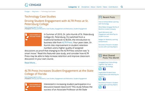 Screenshot of Case Studies Page cengage.com - Technology Case Studies Archives - Cengage Blog - captured Aug. 4, 2017