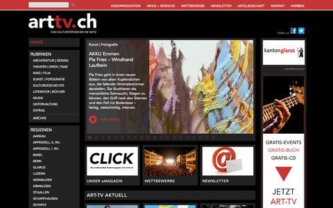 Screenshot of Home Page art-tv.ch - art-tv.ch - das kulturfernsehen im netz - captured Sept. 25, 2015